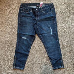 Torrid Destructed Stiletto Zip Ankle Skinny Jeans